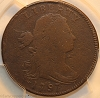 1797 S120b R2 Draped Bust Large Cent Reverse 1796 Gripped Edge PCGS G6