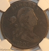 1802 S231 R1 Draped Bust Large Cent NGC F12 No Stems