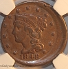 1848 Braided Hair Large Cent NGC VF Off-Center Mint Error