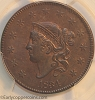 1834 N5 R5 Coronet Large Cent THE RARE ONE PCGS AU53 CAC Lg8 LgStars MedLetters