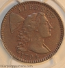 1794 S70 R2 Liberty Cap Large Cent Head of 1795 PCGS AU50 Dan Trollan collection