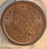 WOW 1851/81 N3 R1 Braided Hair Large Cent PCGS MS64BN CAC CHOICE!