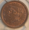 1857 C1 R2 Braided Hair Half Cent PCGS MS65BN CAC Furnace Run Collection