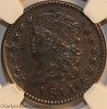 1811 C1 R6 Classic Head Half Cent 4-Star Break NGC AU55BN Manley Plate Coin