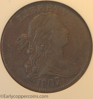 1807/6 S273 R1 Draped Bust Large Cent ANACS EF45 Large 7/6 Overdate Grellman VF30
