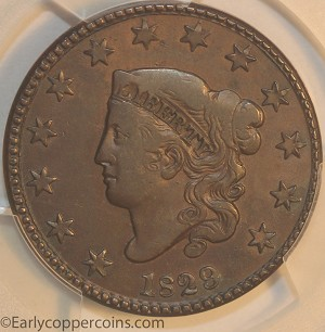 1829 N5 R3 Coronet Large Cent Medium Letters PCGS EF45