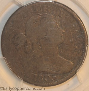 1803 S265 R4 Draped Bust Large Cent RARE Large Date Large Fraction PCGS VG8