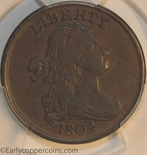 1804 C5 R4 Draped Bust Half Cent Spiked Chin PCGS EF45 CAC Furnace Run Collection