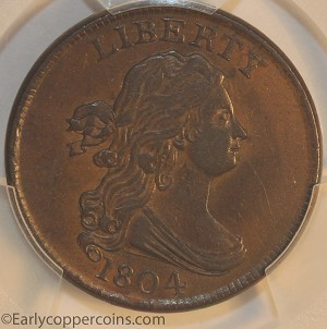 1804 C9 R2 Draped Bust Half Cent PCGS AU55 CAC Furnace Run Collection