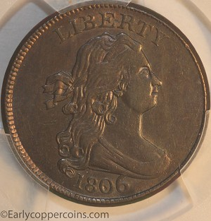 1806 C4 R1 Draped Bust Half Cent Large 6 With Stems PCGS AU58 CAC Furnace Run Collection