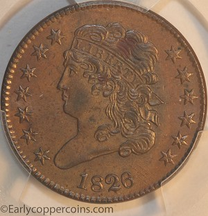 1826 C1 R1 Classic Head Half Cent PCGS MS63BN Furnace Run Collection