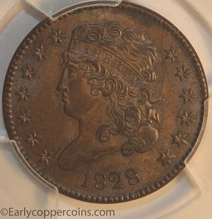 1828 C1 R1 Classic Head Half Cent PCGS MS62BN CAC Furnace Run Collection