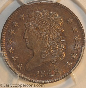 1828 C3 R1 Classic Head Half Cent 13 Stars PCGS MS64+BN CAC Furnace Run Collection