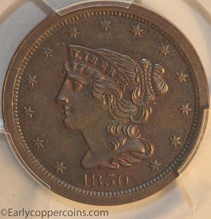1850 C1 R2 Braided Hair Half Cent PCGS MS63BN Furnace Run Collection