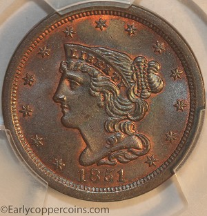 1851 C1 R1 Braided Hair Half Cent PCGS MS65BN CAC Furnace Run Collection