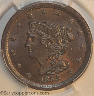 1855 C1 R1 Braided Hair Half Cent PCGS MS65BN Furnace Run Collection