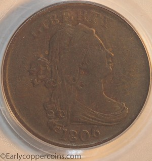 1806 C1 R1 Draped Bust Half Cent Small 6 No Stems PCGS VF35 Furnace Run Collection