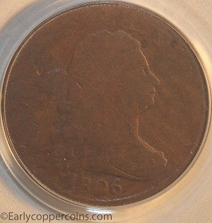 1806 C2 R4 Draped Bust Half Cent Small 6 With Stems PCGS AG3 Furnace Run Collection