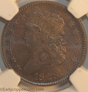 1828 C3 R1 Classic Head Half Cent NGC MS65BN CAC Furnace Run Collection