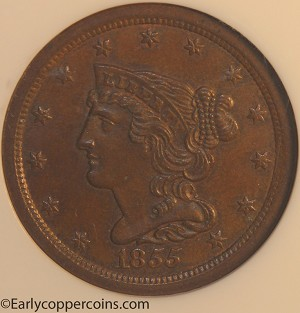 1855 C1 R1 Braided Hair Half Cent NGC MS65BN CAC Furnace Run Collection