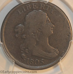 1805 C1 R2- Draped Bust Half Cent Double Struck Over Off-Center Reverse Brockage PCGS F12 Furnace Run Collection