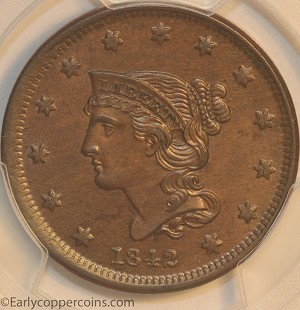 HCH 1842 N2 R2 Braided Hair Large Cent Small Date PCGS MS63BN ex-Jules Reiver