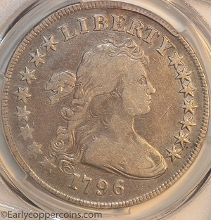 1796 B5 BB65 R4 Draped Bust Dollar Large Date Small Letters PCGS F15 ex-Stacks