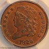 1825 C2 R1 Classic Head Half Cent PCGS AU58 CAC Mark Palmer Collection